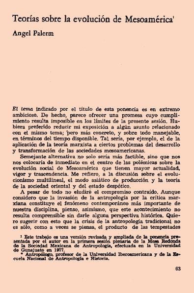 """Ángel Palerm, 1977, """"Teorías sobre la evolución de Mesoamérica"""", Nueva antropología # 7."""