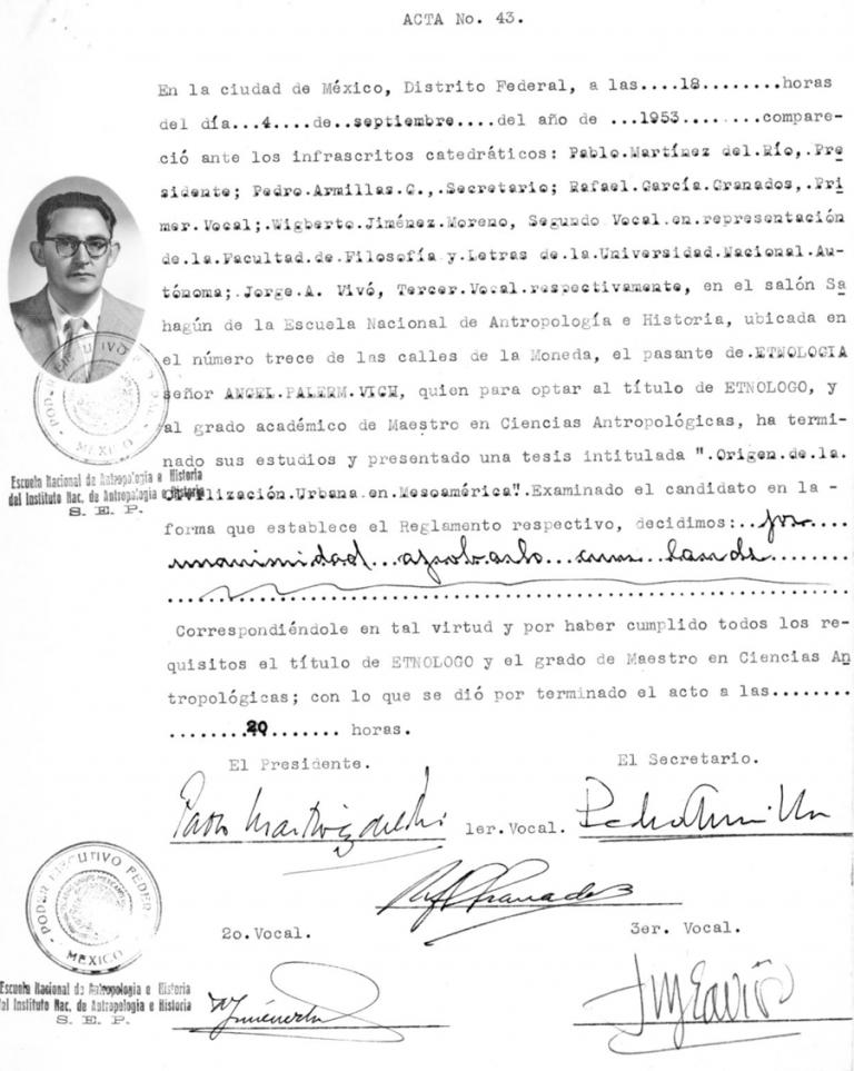 Ángel Palerm Vich, (1953), Origen de la civilización urbana en Mesoamérica, Tesis de maestría en Ciencias Antropológicas, especializado en Etnología, ENAH, México
